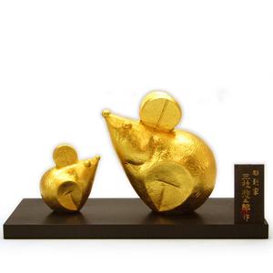 金箔貼 鼠置物「栄福/三枝惣太郎作」