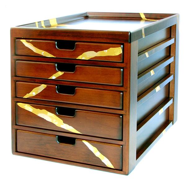 金箔貼 文房具「木製A4ドロワーズ5段」
