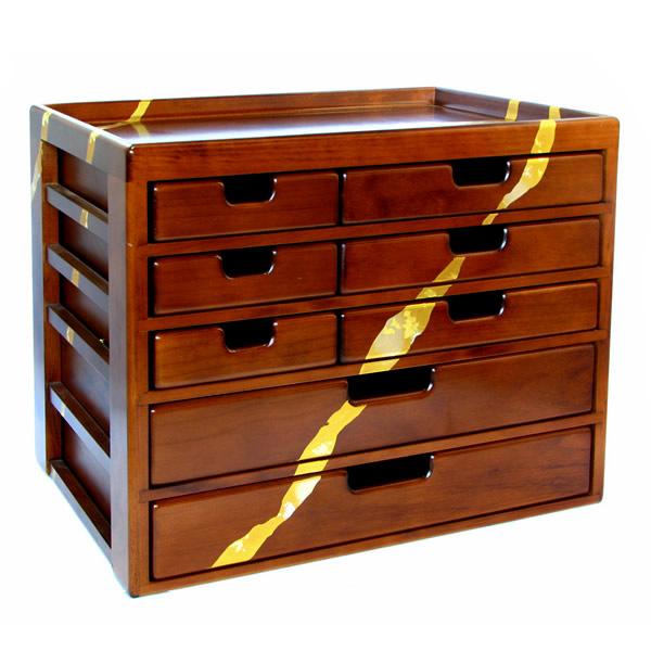 金箔貼 文房具「木製文具シェルフ5段」