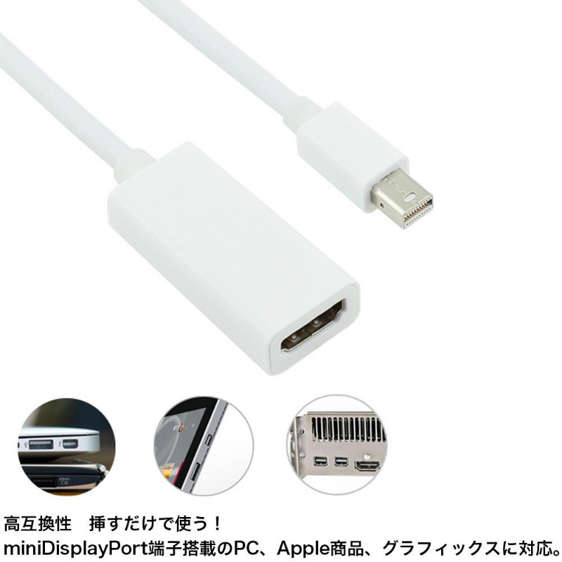 Two set Mini DisplayPort to HDMI conversion adapter cable Mini DisplayPort  (Thunderbolt Port Compatible) to HDMI adapter cables