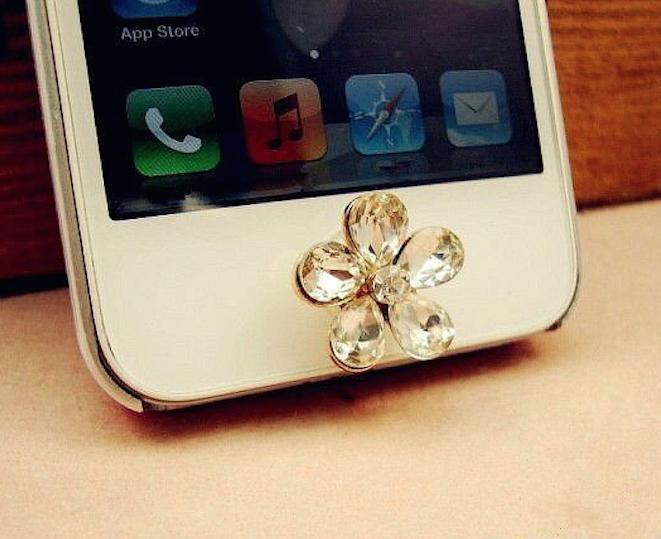シール スワロ シールボタン 送料無料 キラキラパール ホームボタン 贈答 花型 iPhone ipad iPod デコレーション touch対応ホームボタン スワロフスキー クリスタル デコシール 買物
