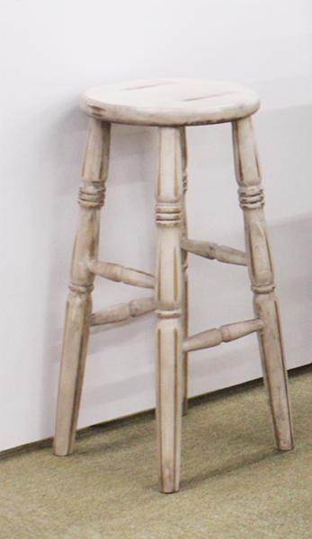 shabishikkuhaisutsuru圆椅子椅子乡村家具天然乡村乡村杂货棕色白进口家具纯洁的手制的老式的自然的手感凳子