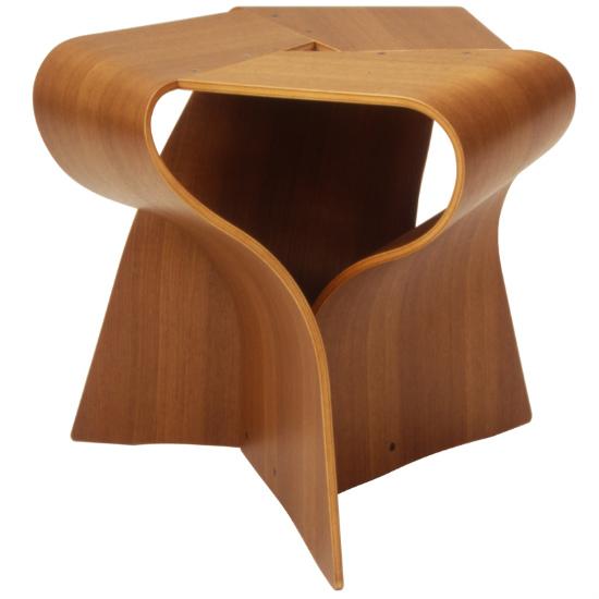 Tendo Mokko mushrooms stool teak straight-grained board S-7297TK-NT