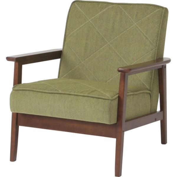 コンパクトサイズで、狭いお部屋にも最適の1人掛け ファブリックソファー 1P グリーン