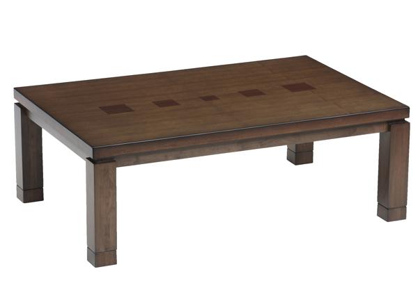 【メーカー在庫限り】キューブのデザインがかわいいこたつテーブル 幅120cm タモ柾目突板貼