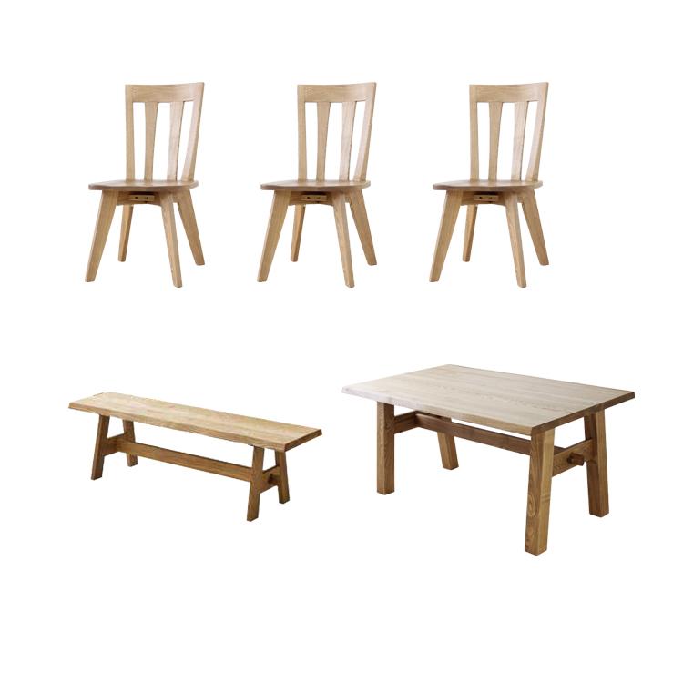 【5点セット 肘無チェア3脚+180テーブル+150ベンチ】総天然木 無垢 タモ材 ハギ材 おぼろ
