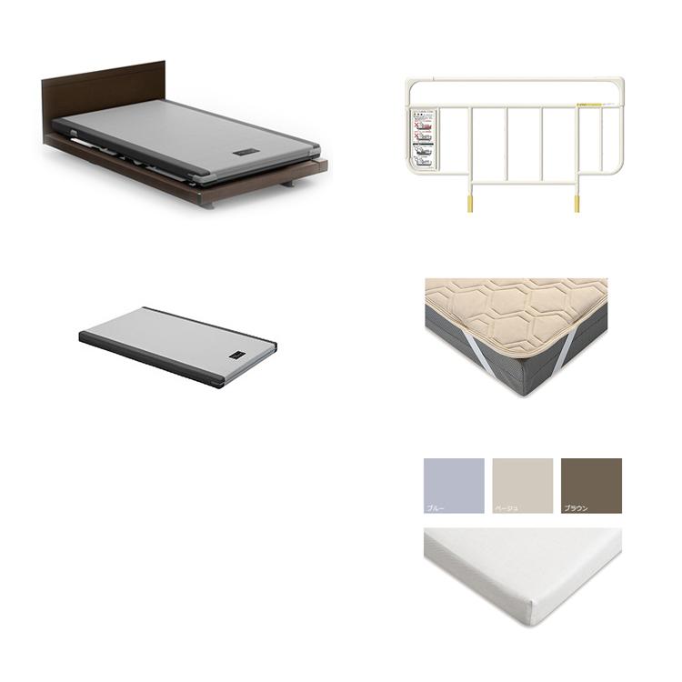 【1+1Mセミダブル5点セット】フレーム+マットレス カルムコア INTIME 1000 電動ベッド