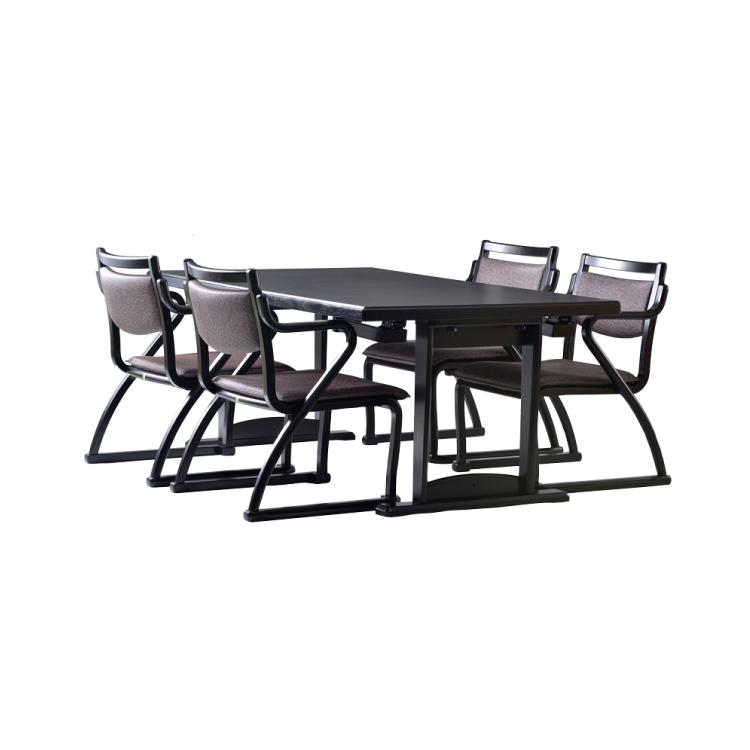 【セット販売】肘付クッションタイプ椅子4脚+幅150×奥行90 和洋兼用2WAYテーブル 軽座