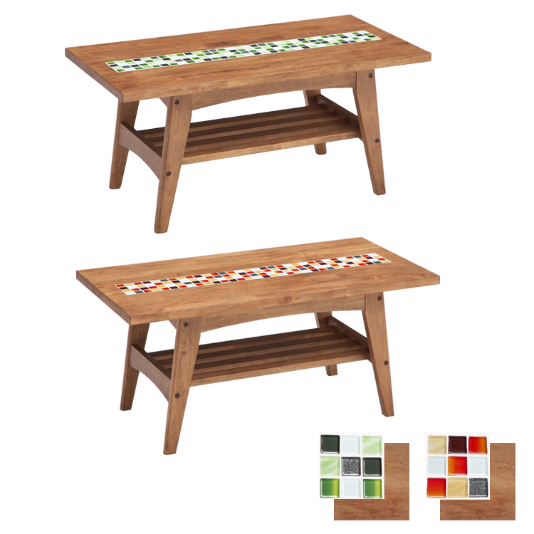 【センターテーブル ブラウン】W90×D45×H40cm タイルトップダイニング