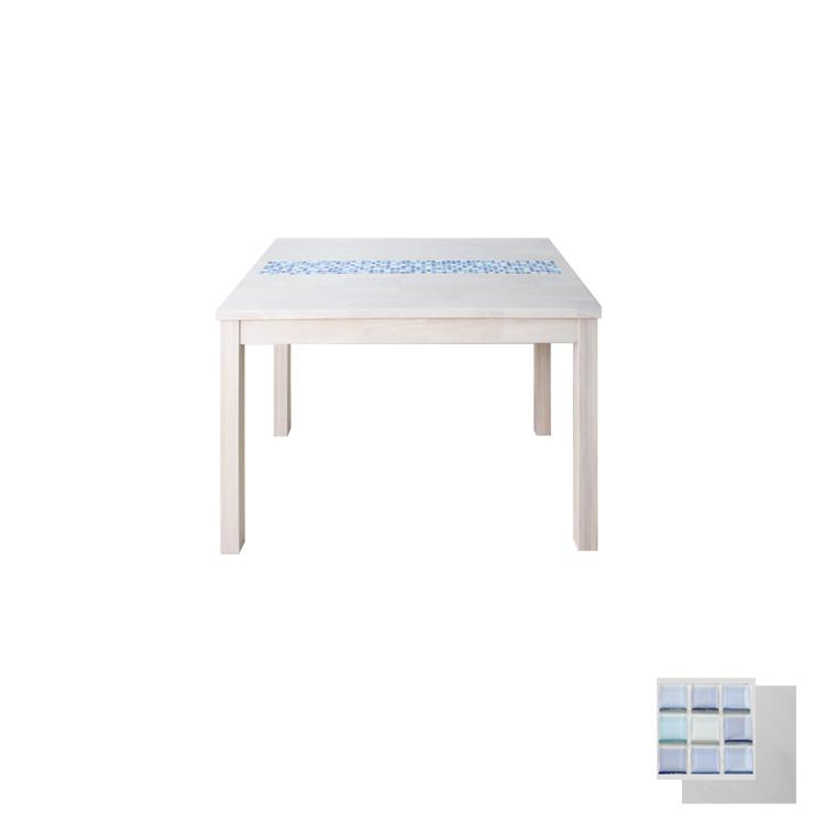 【80幅ダイニングテーブル ホワイト】W80×D80×H70cm タイルトップダイニング