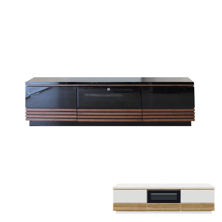 【150cm】テレビボード 鏡面 UV塗装 ブラック ナチュラルホワイト