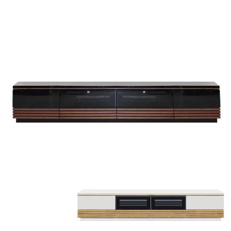 【210cm】テレビボード 鏡面 UV塗装 ブラック ナチュラルホワイト
