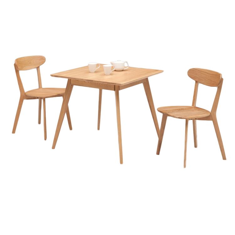 北欧調 ホワイトオーク材 の 明るく ナチュラル な 80ダイニングテーブル 3点セット 80cm正方形テーブル チェアーのカラーが選べます 板座 ブラック レッド
