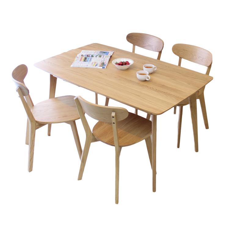 【メーカー在庫限り】 北欧調ホワイトオーク材の明るくナチュラルなダイニングテーブル5点セット 135cm 長方形テーブル 食堂5点セット
