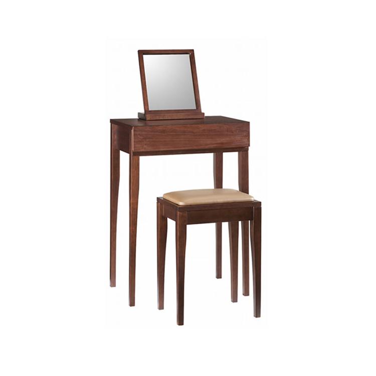 【3点セット コンソール+スツール+ミラー】天然木ウォールナット材の レトロでモダンなシリーズ家具 鏡台3点セット