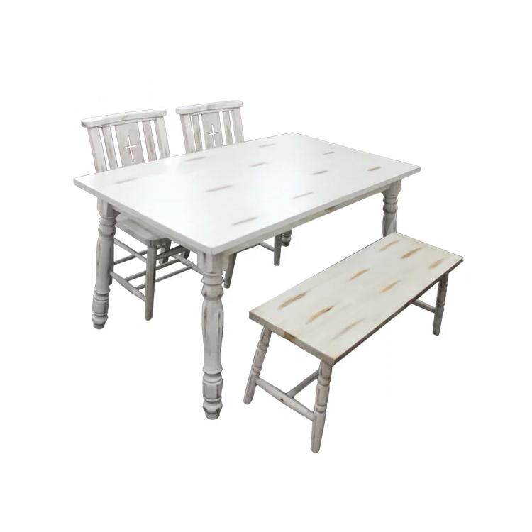 【展示品1点限り】【エビアン ダイニング4点セット】 テーブル×1 ベンチ×1 Bチェア×2