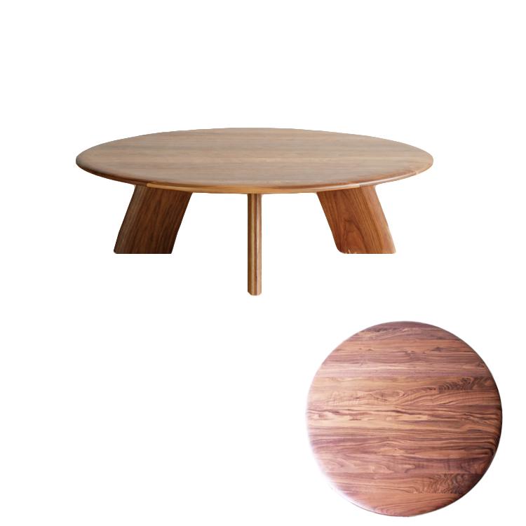 【11/4(月)20時~クーポン有】 Lテーブル neos 丸型、円形座卓、ちゃぶ台、ローテーブル、リビングテーブル ウォールナット材無垢 日本製 センターテーブル