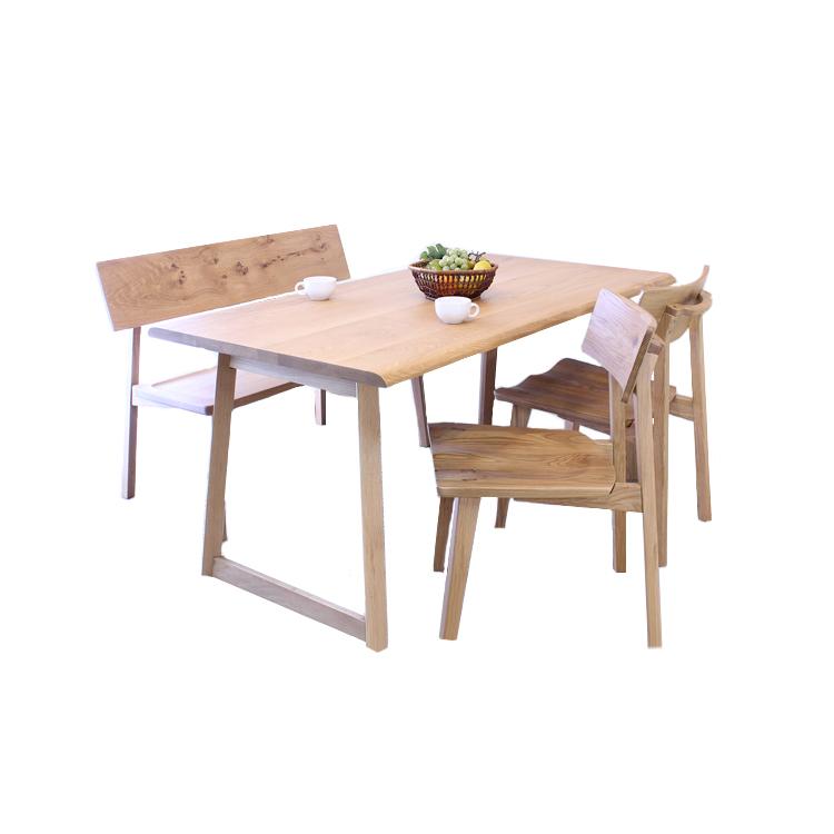 オーク材(ナラ材)の北欧風シリーズ家具「オーガニック」 ベンチダイニング4点セット