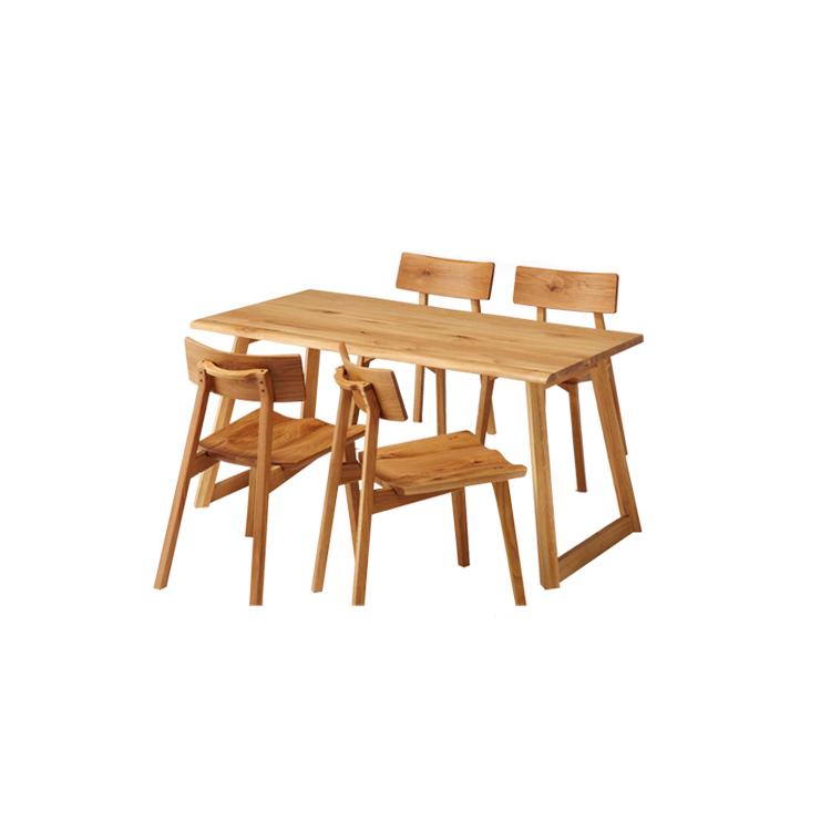 オーク材(ナラ材)の北欧風シリーズ家具「オーガニック」 ダイニング5点セット(150テーブル×1、チェア×4)北欧 ナチュラル オーク 家族 木目 天然杢 自然