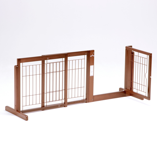 ペットゲート [スタンドゲート F60A メッシュ] 犬 ゲート 木製 室内 伸縮 ドア付き 自立型