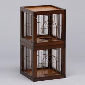 「キャット ケージ マンション 2部屋セット」 猫 ねこ 木製 キャットケージ 猫ケージ おしゃれ 室内用 [セール]