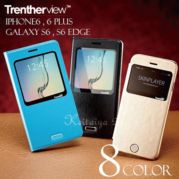 3363f27fb2 iPhone6iPhone6GalaxyS6,S6Edge窓付きケースカバー手帳TrentherviewCaseiPhone6plusケース 手帳型GalaxyS6edgeSC-04G,