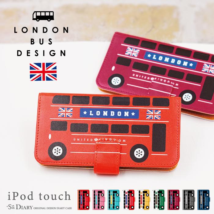 iPod touch 5 6 ケース バス ロンドン 車 アイポッドタッチ6 ipodtouch6 第6世代 レザー かわいい アイポットタッチ5 カバー ダイアリーケース 手帳型ケース  デザインケース 手帳カバー  可愛い おしゃれ 第5世代