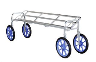 【運搬作業用品-収穫車・コンテナ車】ハラックス 楽太郎 アルミ製収穫台車横向き傾斜タイプ RAL-1750 ノーパンクタイヤ <大型・重量商品>