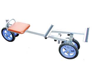 【運搬作業用品-収穫車・コンテナ車】ハララックス ラクエモン アルミ製いちご収穫用幅狭台車 RS-700S ノーパンクタイヤ <大型・重量商品>