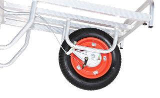 【運搬作業用品-収穫車・コンテナ車】ハラックス コン助 ブレーキ付アルミ製平形一輪車 CNB-40D エアータイヤ <大型・重量商品>