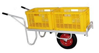 【運搬作業用品-収穫車・コンテナ車】ハラックス コン助 アルミ製平形1輪車 幅せまタイプ CN-35D エアータイヤ <大型・重量商品>