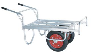 【運搬作業用品-収穫車・コンテナ車】ハラックス コン助 アルミ製平形2輪車(1輪車に付け替え可能タイプ) CN-45DW エアータイヤ <大型・重量商品>