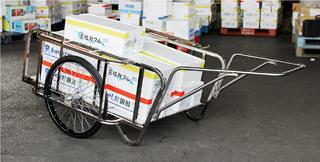 【運搬作業用品-リヤカー】ハラックス 輪太郎 ステンレス製大型リヤカー BS-1384SUN ノーパンクタイヤ <大型・重量商品>