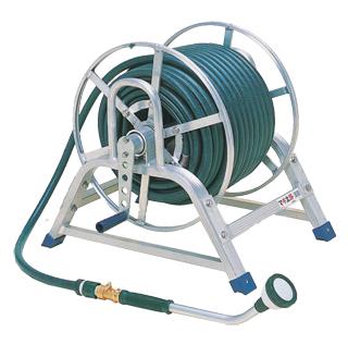 【散水作業用品-ホースリール】ハラックス マキ太郎 アルミ製ホース巻取器15mm水道ホースセットWS-15-50 <大型・重量商品>