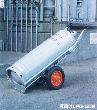 【運搬作業用品-ボンベ・ドラム缶運搬車】ハラックス タフボーイ アルミ製LPガスボンベ運搬車 4輪 LPG-504 <大型・重量商品>