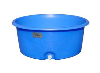 【貯水タンク-大型容器】モリマーサム樹脂 OPEN 丸型容器 500L 排水栓付 ブルー LH-500A <大型・重量商品>