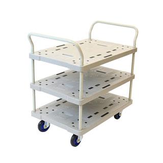 樹脂製台車。工場内での部品や工具の整理、運搬に最適。 【運搬作業用品-台車】金象印 プラキャリーラック3段式 大