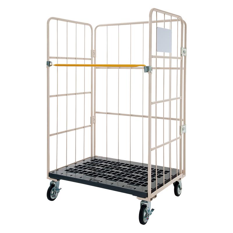 【運搬作業用品-カゴ台車】マキテック ロールボックスパレット 底板樹脂製メッシュタイプ MJR-5 <大型・重量商品>