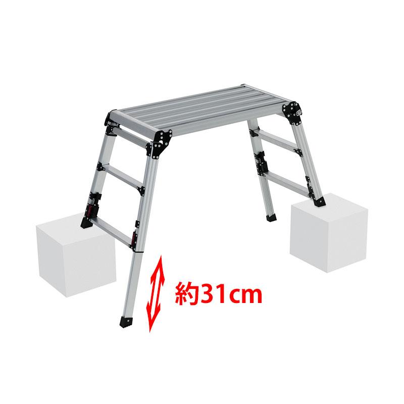 【はしご・脚立・足場台- 脚立】ピカ 四脚アジャスト式足場台 上部操作タイプ DXJ-W6908A <大型・重量商品>