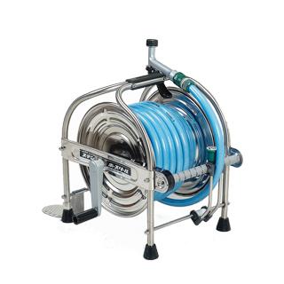 【散水作業用品-ホースリール】ハタヤ ステンレス(SUS304)ホースリール20m型 ホース付 SSA-20P <大型・重量商品>