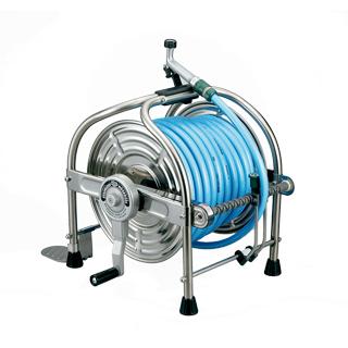 【散水作業用品-ホースリール】ハタヤ ステンレス(SUS304)ホースリール40m型 ホース付 SLA-40P <大型・重量商品>