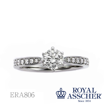 【ERA806】ロイヤル・アッシャー・ダイヤモンド エンゲージリング  婚約指輪