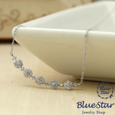 K18WG ダイヤモンド0.20ct お花デザインネックレス  BlueStar