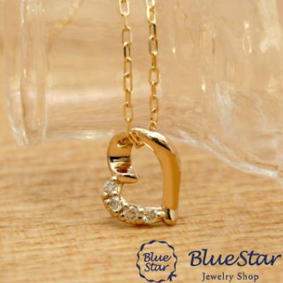 オープンハートダイヤモンドネックレス BlueStar