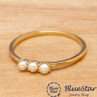 淡水真珠3連 リング BlueStar
