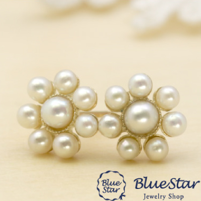 淡水真珠8石 クラシカル ピアス BlueStar
