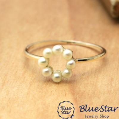 淡水真珠8石 サークルデザイン リング BlueStar