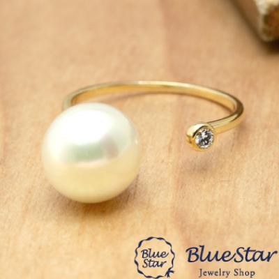 フリーリング ダイヤモンド&大粒淡水パール BlueStar