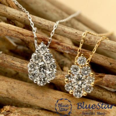 K18 ダイヤモンド0.30ct デザインネックレス  BlueStar