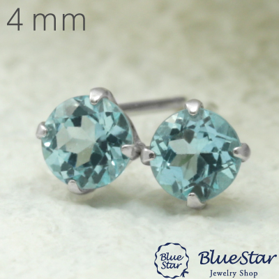 K18WG アパタイト4mmピアス  BlueStar